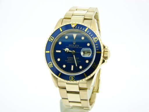 Rolex 18K Yellow Gold Submariner 16618 Blue -5