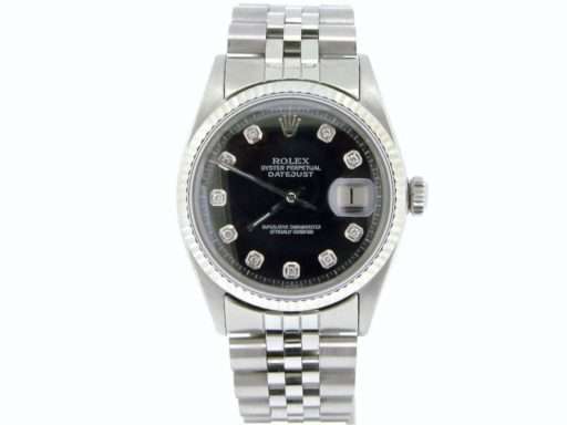 Rolex Stainless Steel Datejust 1601 Black Diamond-5
