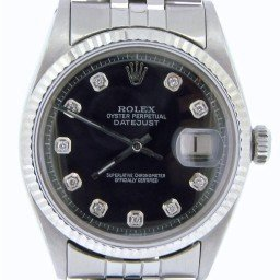 Mens Rolex Stainless Steel Datejust Black Diamond 1601