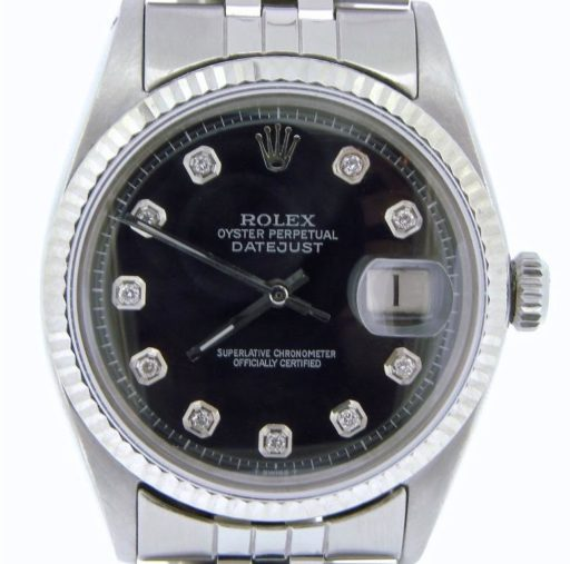 Rolex Stainless Steel Datejust 1601 Black Diamond-1