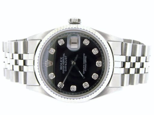 Rolex Stainless Steel Datejust 1601 Black Diamond-4