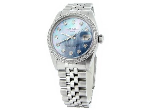 Rolex Stainless Steel Date 1500 Blue MOP Diamond-6
