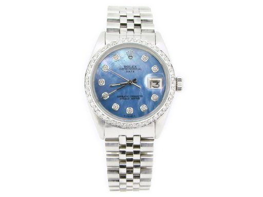 Rolex Stainless Steel Date 1500 Blue MOP Diamond-8
