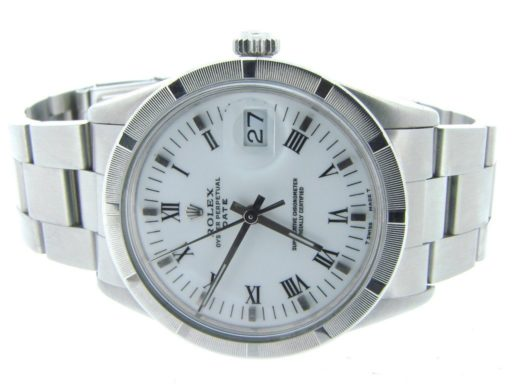 Rolex Stainless Steel Date 15010 White Roman-6