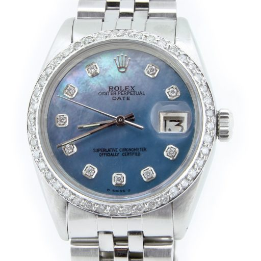 Rolex Stainless Steel Date 1500 Blue MOP Diamond-1