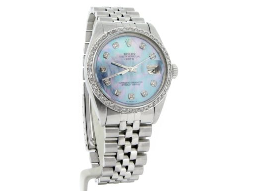 Rolex Stainless Steel Date 1500 Blue MOP Diamond-4