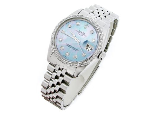 Rolex Stainless Steel Date 1500 Blue MOP Diamond-7