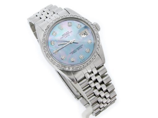 Rolex Stainless Steel Date 1500 Blue MOP Diamond-5
