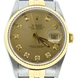 Mens Rolex Two-Tone 18K/SS Datejust Champagne Diamond 16233
