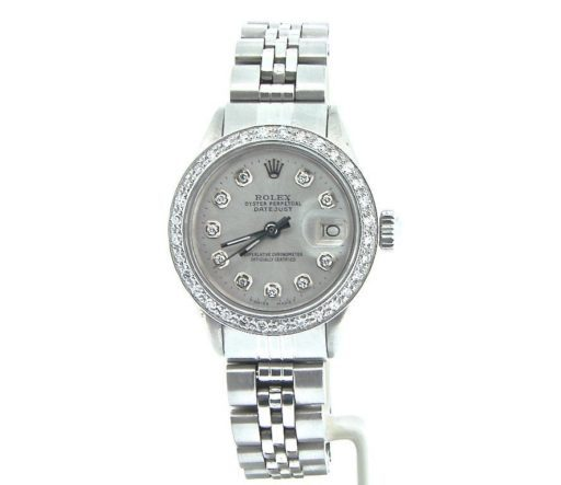 Rolex Stainless Steel Datejust 6917 Silver Diamond-4
