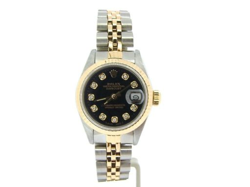 Rolex Two-Tone Datejust 69173 Black Diamond-6
