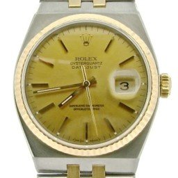 Pre Owned Mens Rolex Two-Tone Oysterquartz Datejust Gold Champagne 17013 (SKU N358572NM)