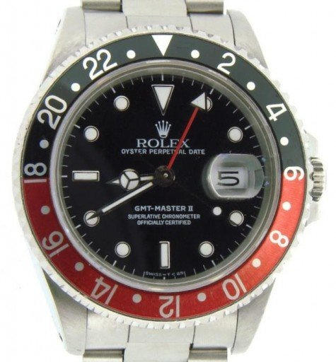 Rolex Stainless Steel GMT Master II 16710 Black & Red Coke -1