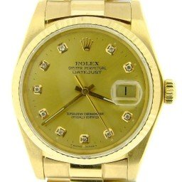 Pre Owned Mens Rolex Yellow Gold Datejust with a Gold Diamond Dial 16018