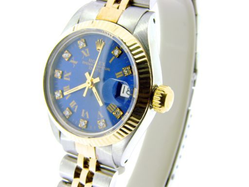 Rolex Two-Tone Date 6917 Blue Roman & Diamond -6
