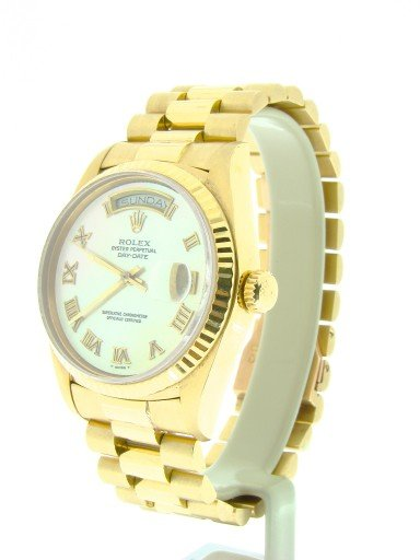 Rolex 18K Yellow Gold Day-Date President 18038 White MOP Roman-6