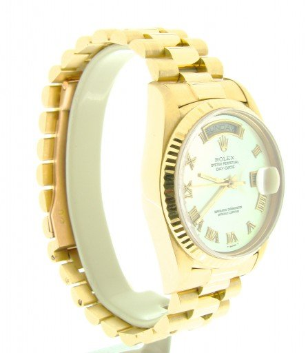 Rolex 18K Yellow Gold Day-Date President 18038 White MOP Roman-5