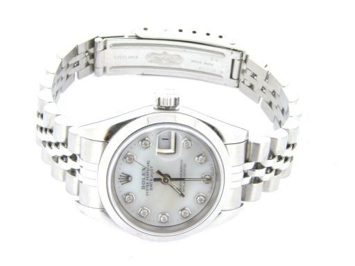 Rolex Stainless Steel Datejust 69160 White MOP Diamond-5