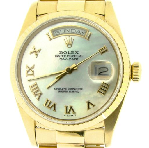 Rolex 18K Yellow Gold Day-Date President 18038 White MOP Roman-1
