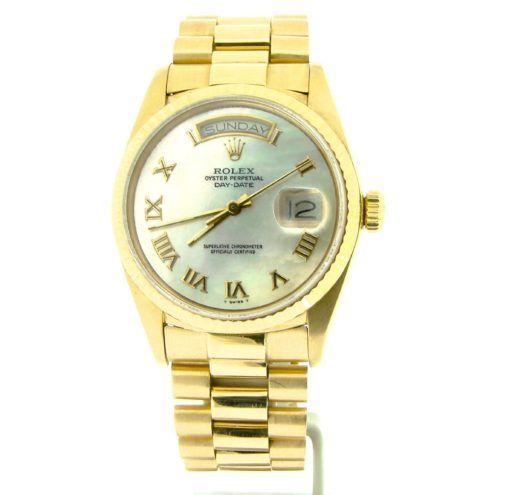 Rolex 18K Yellow Gold Day-Date President 18038 White MOP Roman-7