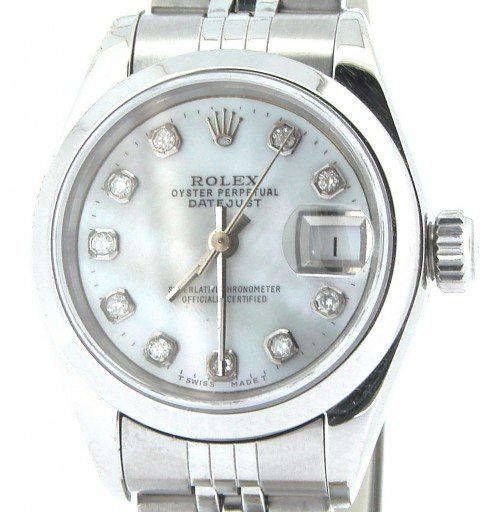 Rolex Stainless Steel Datejust 69160 White MOP Diamond-6
