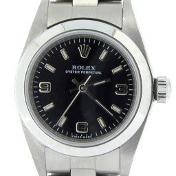 Ladies Rolex Stainless Steel Oyster Perpetual Black  76080 (SKU P309686NNCMT)