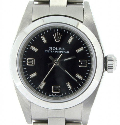 Rolex Stainless Steel Oyster Perpetual 76080 Black -1
