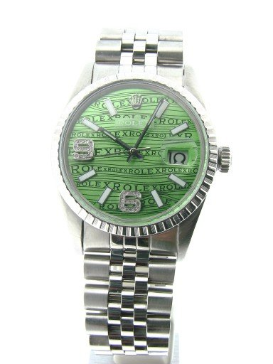 Rolex Stainless Steel Datejust 16030 Green Wave -5