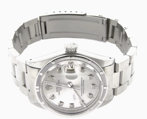 Rolex Stainless Steel Date 1501 Silver Diamond-5