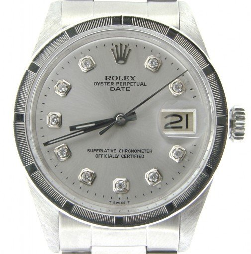 Rolex Stainless Steel Date 1501 Silver Diamond-1