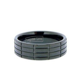 Mens Black Tungsten Ring