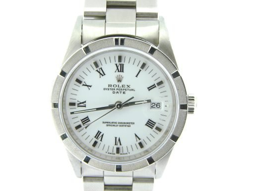 Rolex Stainless Steel Date 15210 White Roman-1