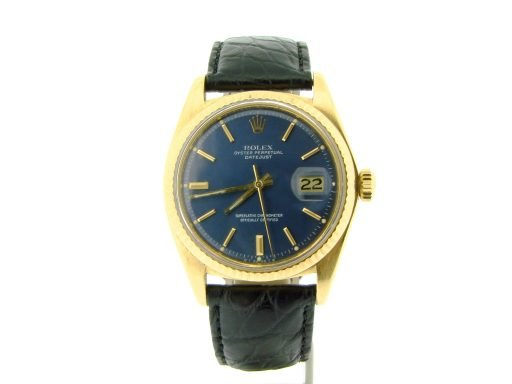 Rolex 18K Yellow Gold Datejust 1601 Blue -8