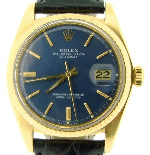 Rolex 18K Yellow Gold Datejust 1601 Blue -1