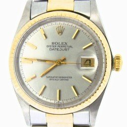 Mens Rolex Two-Tone 14K/SS Datejust Silver  1601 (SKU 24096470NBCMT)
