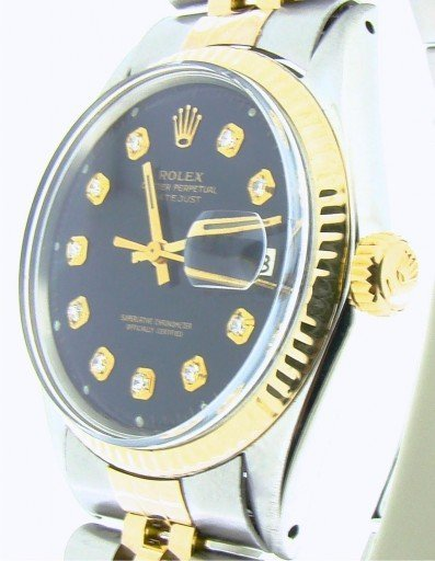 Rolex Two-Tone Datejust 1601 Black Diamond-5
