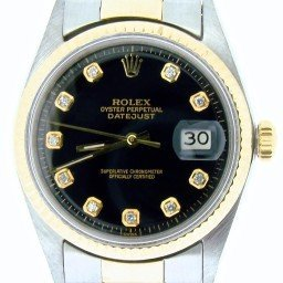 Mens Rolex Two-Tone 14K/SS Datejust Black Diamond 1601 (SKU 1970054NBCMT)