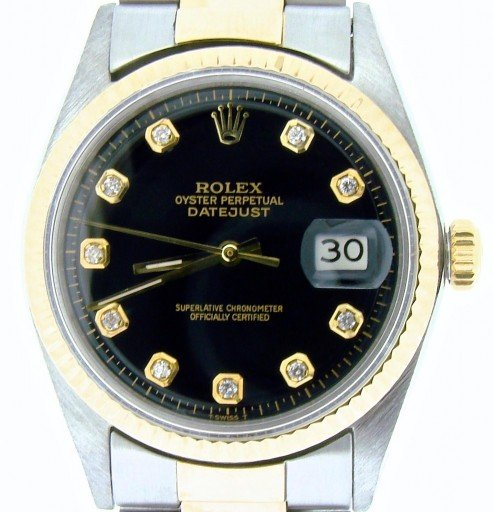 Rolex Two-Tone Datejust 1601 Black Diamond-1