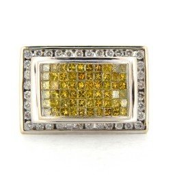 Mens 14k White Gold 2k Canary Diamond Ring Size 13