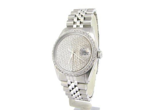 Rolex Stainless Steel Datejust 16030 Pave Diamond -5