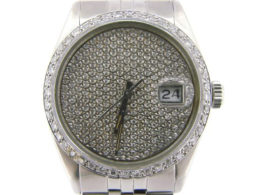 Rolex Stainless Steel Datejust 16030 Pave Diamond -1