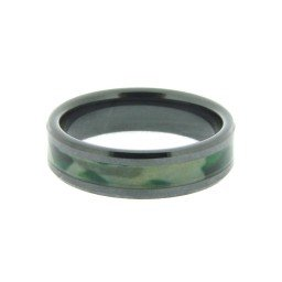 Mens 7mm Black Ceramic Ring w/Camoflage Inlay Size 13 (SKU MENS03N)