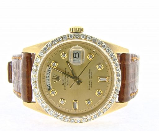 Rolex 18K Yellow Gold Day-Date President 1803 Champagne Diamond-13