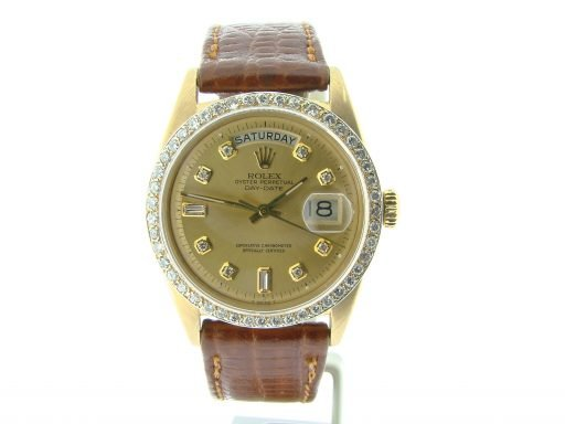 Rolex 18K Yellow Gold Day-Date President 1803 Champagne Diamond-10