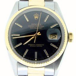 Mens Rolex Two-Tone 18K/SS Datejust Black  16013