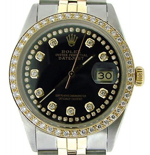Rolex Two-Tone Datejust 16013 Black Diamond-1
