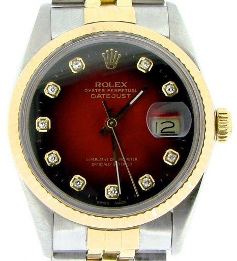 Rolex Two-Tone Datejust 16013 Red Diamond-1