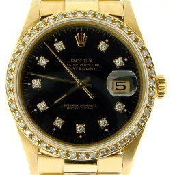Pre Owned Mens Rolex Yellow Gold Datejust Diamond Black 16018