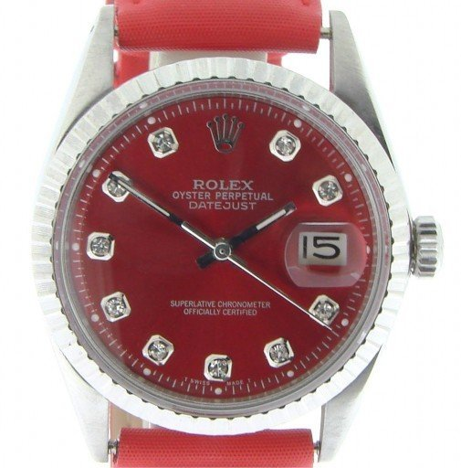 Rolex Stainless Steel Datejust 1603 Red Diamond-1