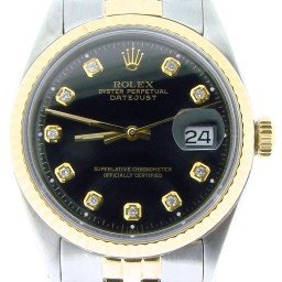 Mens Rolex Two-Tone 14K/SS Datejust Black Diamond 1601